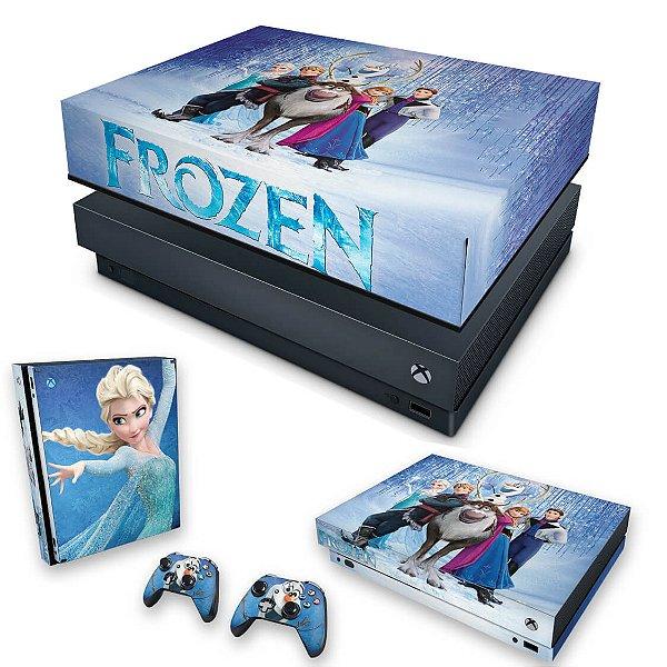 KIT Xbox One X Skin e Capa Anti Poeira - Frozen