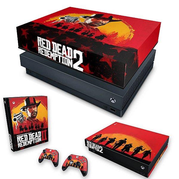 KIT Xbox One X Skin e Capa Anti Poeira - Red Dead Redemption 2