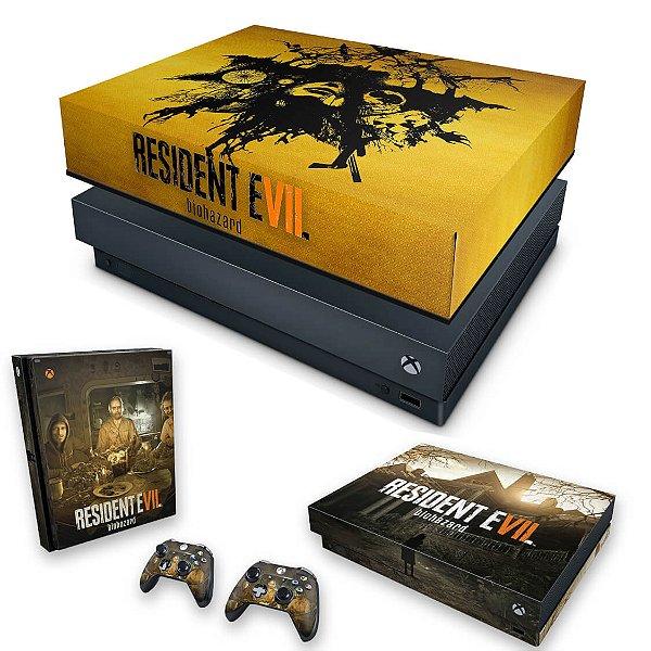 KIT Xbox One X Skin e Capa Anti Poeira - Resident Evil 7: Biohazard