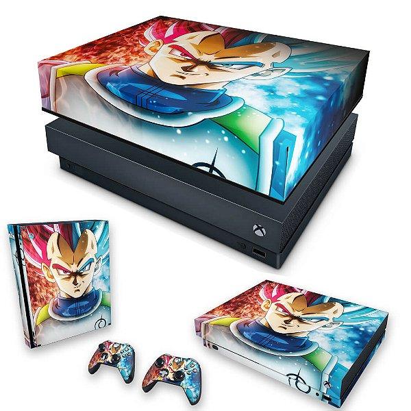 KIT Xbox One X Skin e Capa Anti Poeira - Dragon Ball Super Vegeta SSJ GOD
