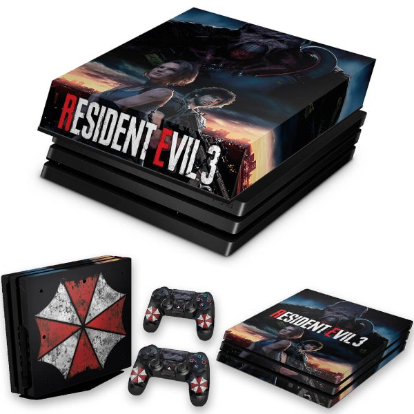 KIT PS4 Pro Skin e Capa Anti Poeira - Resident Evil 3 Remake