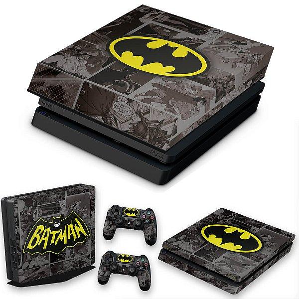 KIT PS4 Slim Skin e Capa Anti Poeira - Batman Comics