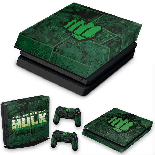 KIT PS4 Slim Skin e Capa Anti Poeira - Hulk Comics