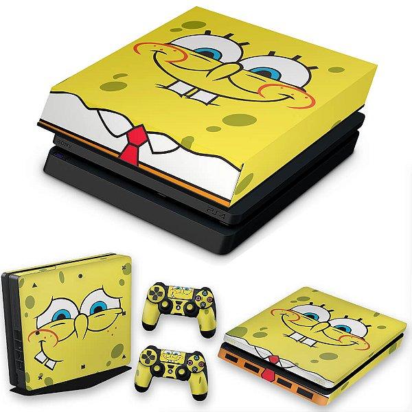 KIT PS4 Slim Skin e Capa Anti Poeira - Bob Esponja