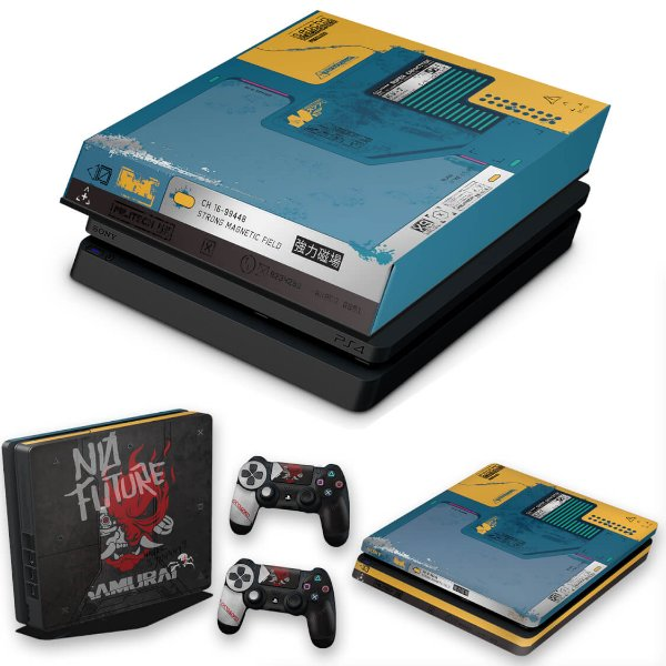 KIT PS4 Slim Skin e Capa Anti Poeira - Cyberpunk 2077 Bundle