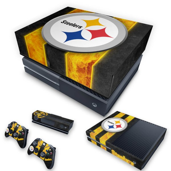 KIT Xbox One Fat Skin e Capa Anti Poeira - Pittsburgh Steelers - NFL