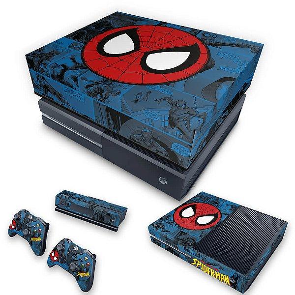 KIT Xbox One Fat Skin e Capa Anti Poeira - Homem-Aranha Spider-Man Comics