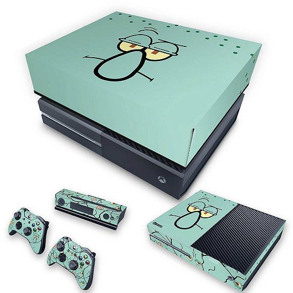 KIT Xbox One Fat Skin e Capa Anti Poeira - Lula Molusco Bob Esponja