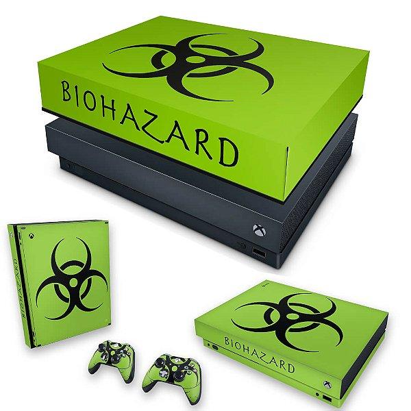 KIT Xbox One X Skin e Capa Anti Poeira - Biohazard Radioativo