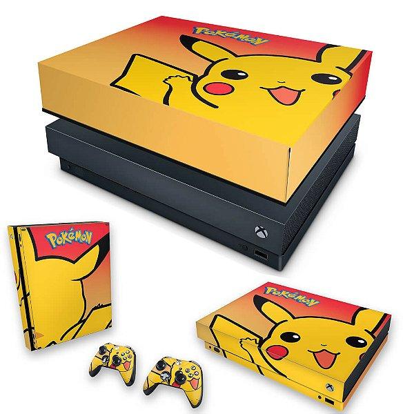 KIT Xbox One X Skin e Capa Anti Poeira - Pokemon Pikachu