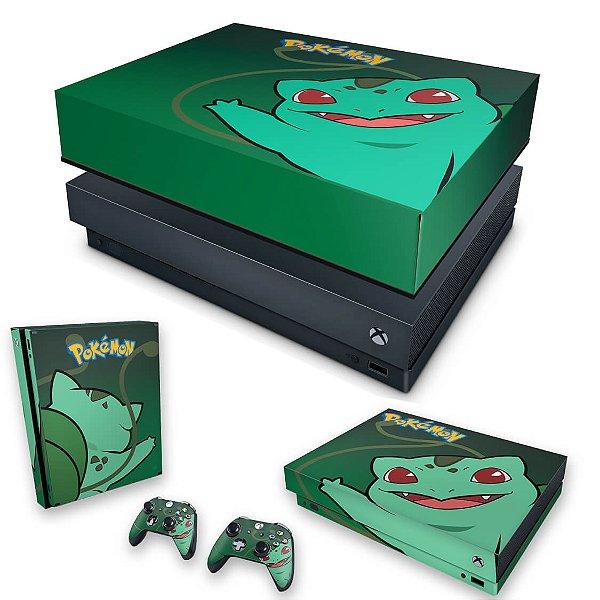 KIT Xbox One X Skin e Capa Anti Poeira - Pokemon Bulbasaur