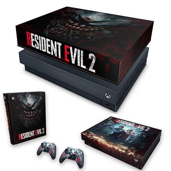 KIT Xbox One X Skin e Capa Anti Poeira - Resident Evil 2 Remake