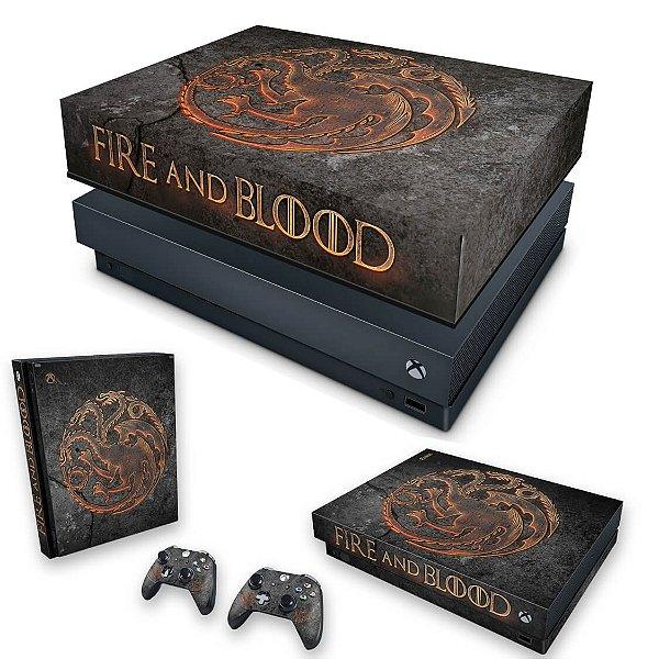 KIT Xbox One X Skin e Capa Anti Poeira - Game of Thrones Targaryen