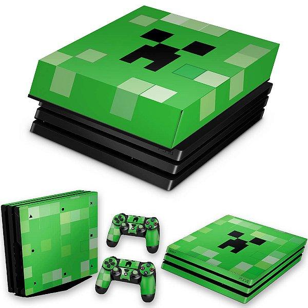 KIT PS4 Pro Skin e Capa Anti Poeira - Creeper Minecraft