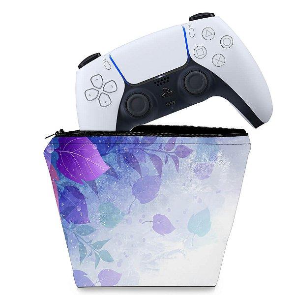 Capa PS5 Controle Case - Folhas Lilás