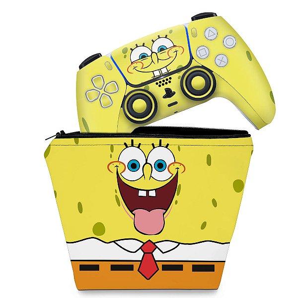 KIT Capa Case e Skin PS5 Controle - Bob Esponja