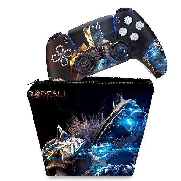 KIT Capa Case e Skin PS5 Controle - Godfall