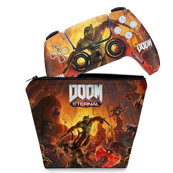 KIT Capa Case e Skin PS5 Controle - Doom Eternal