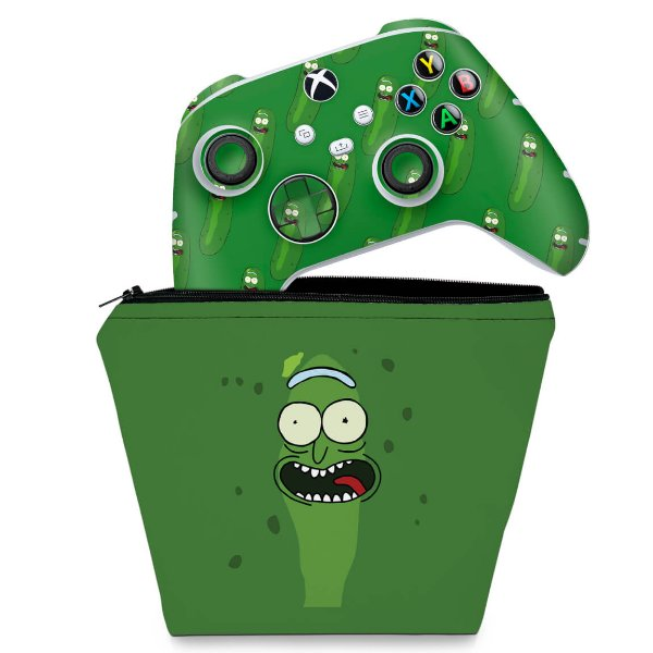 KIT Capa Case e Skin Xbox Series S X Controle - Pickle Rick And Morty