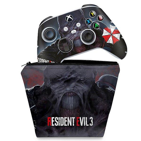 KIT Capa Case e Skin Xbox Series S X Controle - Resident Evil 3 Remake
