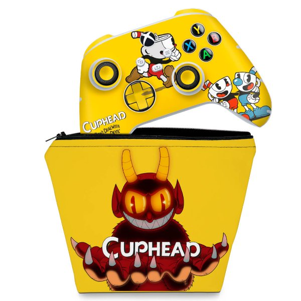 KIT Capa Case e Skin Xbox Series S X Controle - Cuphead
