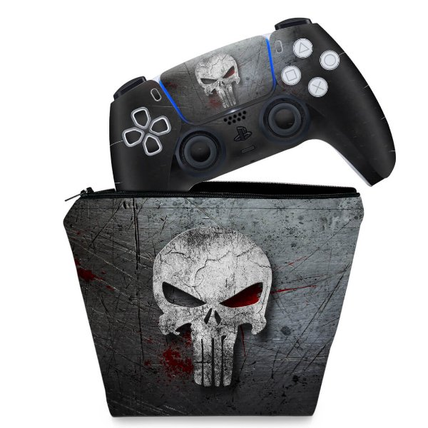 KIT Capa Case e Skin PS5 Controle - The Punisher Justiceiro