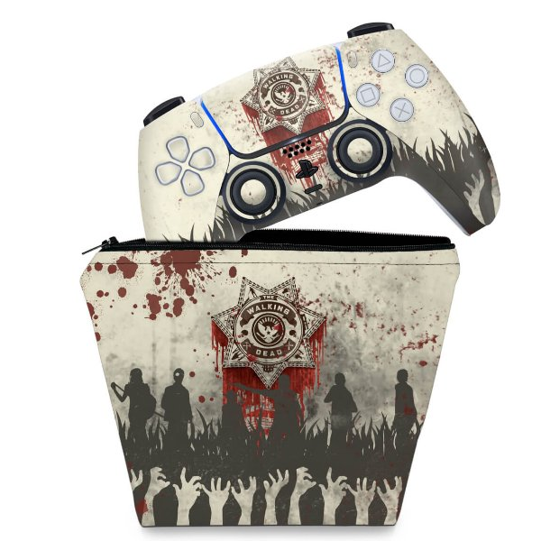KIT Capa Case e Skin PS5 Controle - The Walking Dead