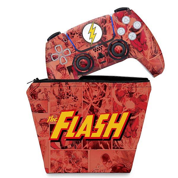KIT Capa Case e Skin PS5 Controle - The Flash Comics