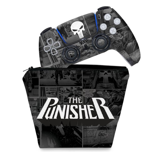 KIT Capa Case e Skin PS5 Controle - The Punisher Justiceiro Comics
