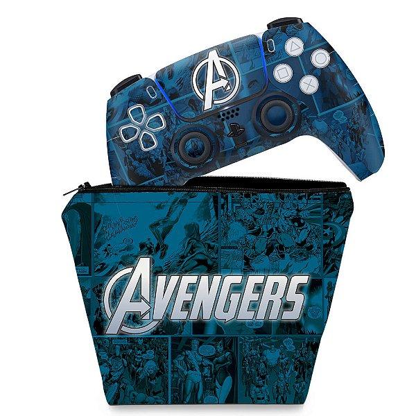 KIT Capa Case e Skin PS5 Controle - Avengers Vingadores Comics