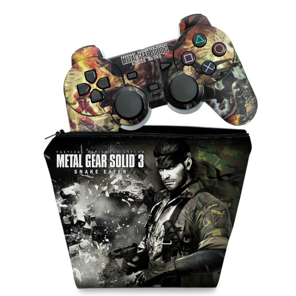 KIT Capa Case e Skin PS2 Controle - Metal Gear Solid 3