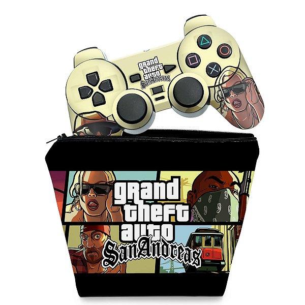 KIT Capa Case e Skin PS2 Controle - GTA San Andreas