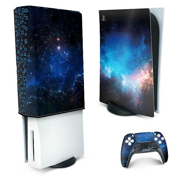 KIT PS5 Skin e Capa Anti Poeira - Universo Cosmos