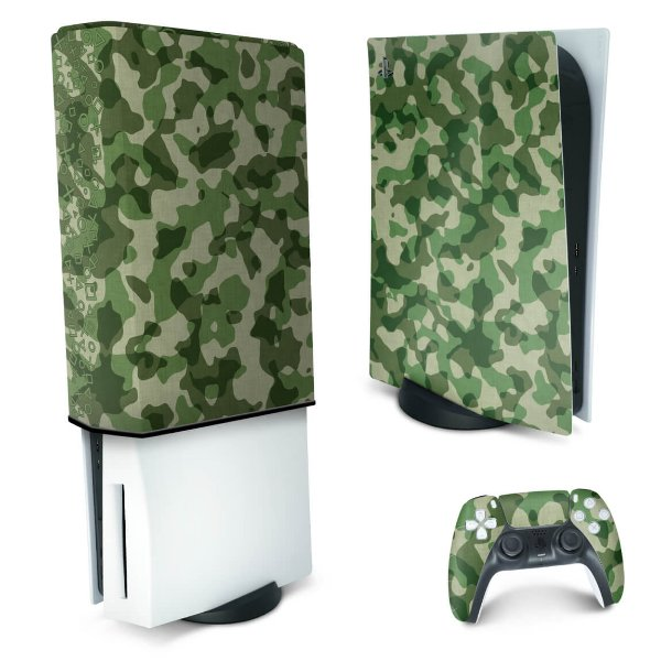 KIT PS5 Skin e Capa Anti Poeira - Camuflado Verde