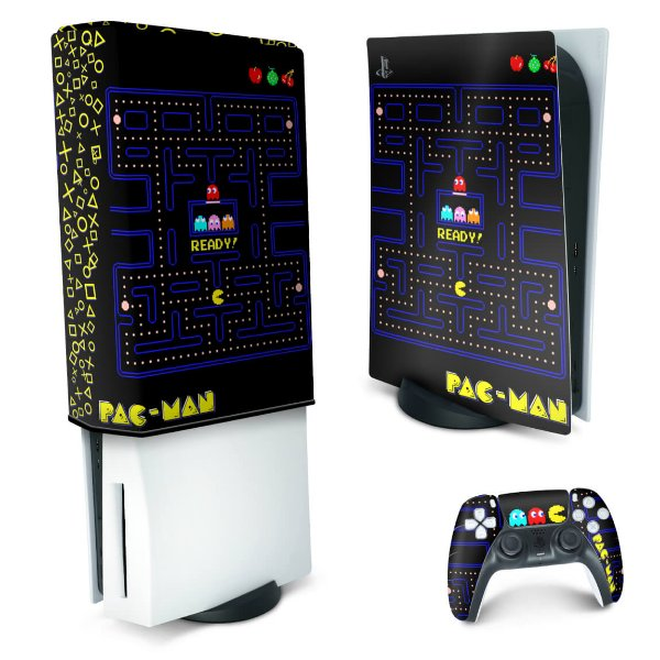 KIT PS5 Skin e Capa Anti Poeira - Pac Man