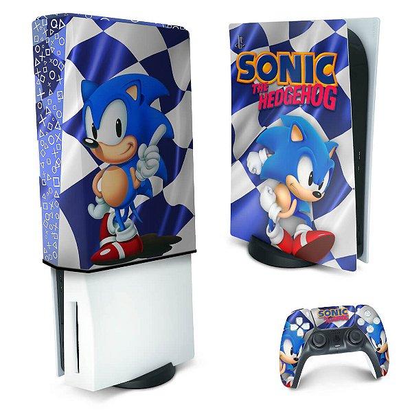 KIT PS5 Skin e Capa Anti Poeira - Sonic