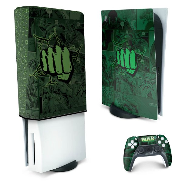 KIT PS5 Skin e Capa Anti Poeira - Hulk Comics