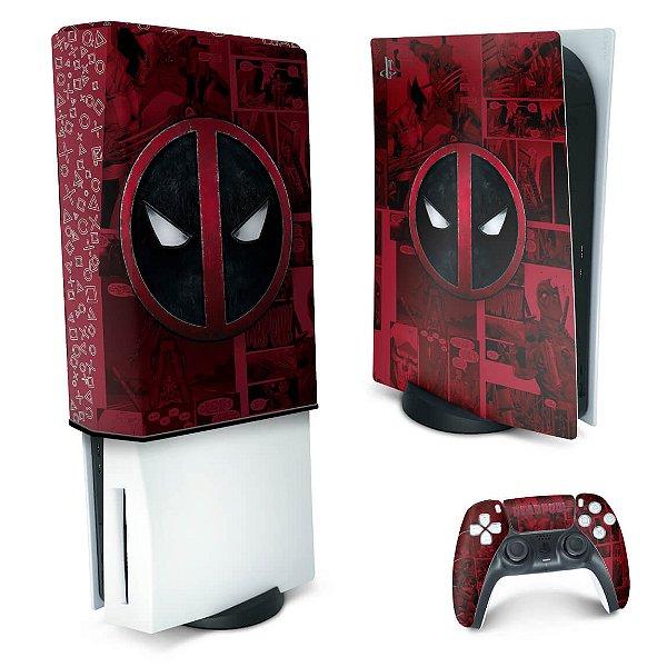 KIT PS5 Skin e Capa Anti Poeira - Deadpool Comics