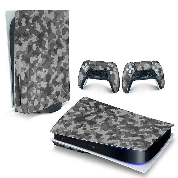 Skin PS5 - Camuflado Cinza