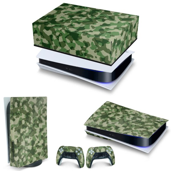 KIT PS5 Capa Anti Poeira e Skin -Camuflado Verde