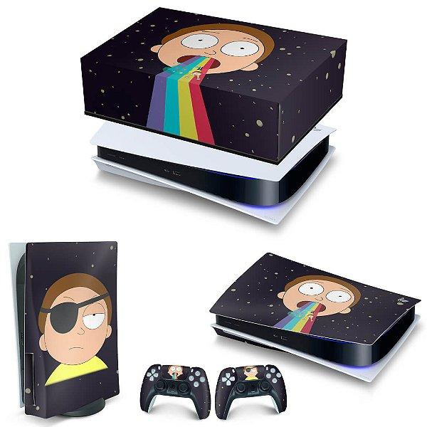 KIT PS5 Capa Anti Poeira e Skin -Morty Rick And Morty