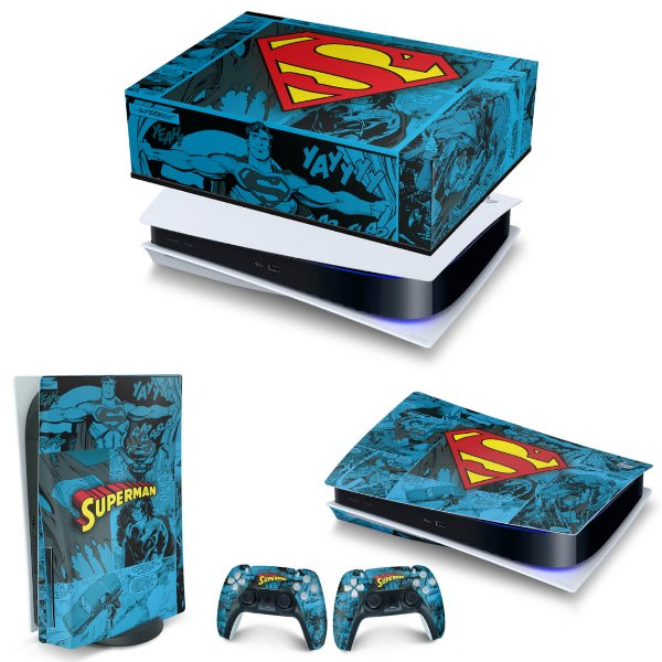 KIT PS5 Capa Anti Poeira e Skin -Superman Comics