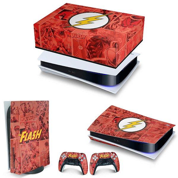 KIT PS5 Capa Anti Poeira e Skin -The Flash Comics