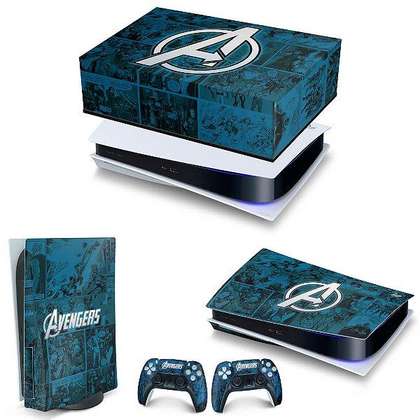 KIT PS5 Capa Anti Poeira e Skin -Avengers Vingadores Comics