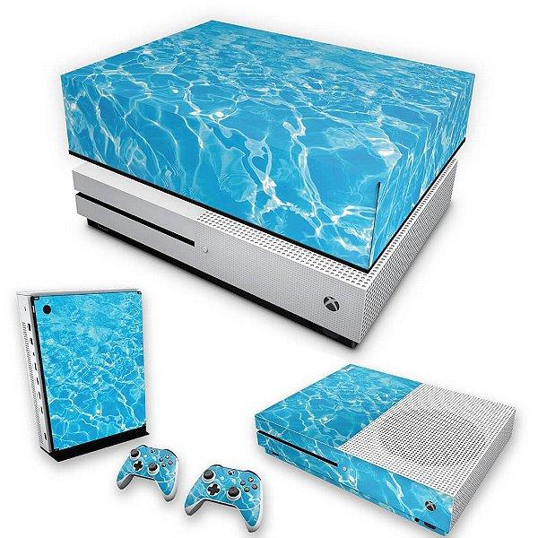 KIT Xbox One S Slim Skin e Capa Anti Poeira - Aquático Água