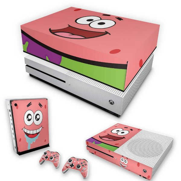KIT Xbox One S Slim Skin e Capa Anti Poeira - Patrick Bob Esponja