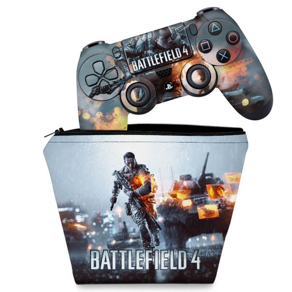 KIT Capa Case e Skin PS4 Controle  - Battlefield 4