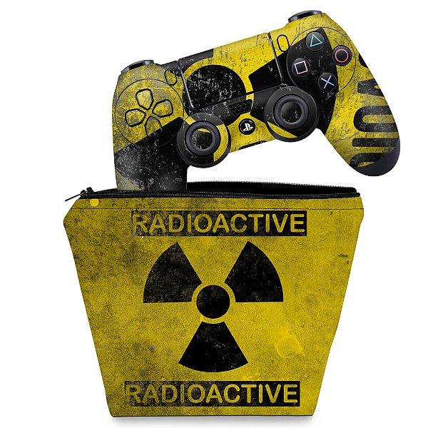 KIT Capa Case e Skin PS4 Controle  - Radioativo
