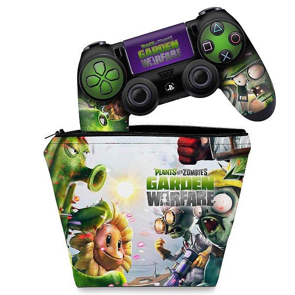 KIT Capa Case e Skin PS4 Controle  - Plants Vs Zombies Garden Warfare