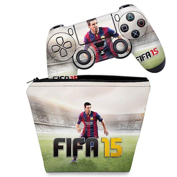 KIT Capa Case e Skin PS4 Controle  - Fifa 15